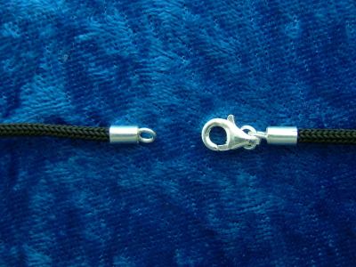 2 mm 18 inch Black Nylon Cord with Sterling Silver Clasp