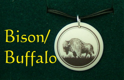 Bison / Buffalo Jewelry Porcelain Pendant