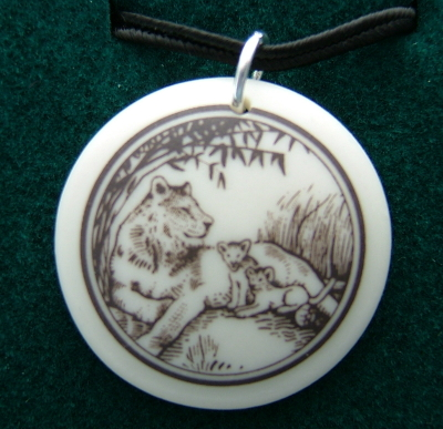 Lioness  Porcelain Pendant Necklace